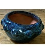 "NEW ITEM!  5"" Round Glazed Ceramic Bonsai Pot in Variegated Azure Blue. - $11.87"