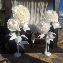 SALE 3 white giant Paper Flower self standing, Backdrop, Party, wedding - $150.00
