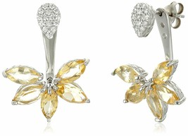 Sterling Silver 925 3.6 Ct Marquise Citrine Cubic Zirconia Floral Earring Jacket
