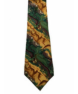 Vintage J Garcia Necktie Tie Abstract Vibrant Reds Yellows Greens Silk U... - $19.31