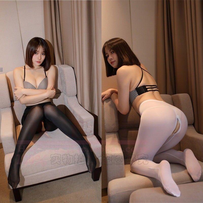 Women  Zip open Crotch See Through Trousers Pants Leggings Ice Silk Transparent - $10.44 - $11.75