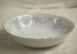 Barbizon by Mikasa Round Vegetable Bowl Blue Flowers Gray Leaves Platinu... - $39.59