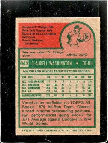 1975 TOPPS #647 CLAUDELL WASHINGTON VGEX RC ROOKIE ATHLETICS  *X01085