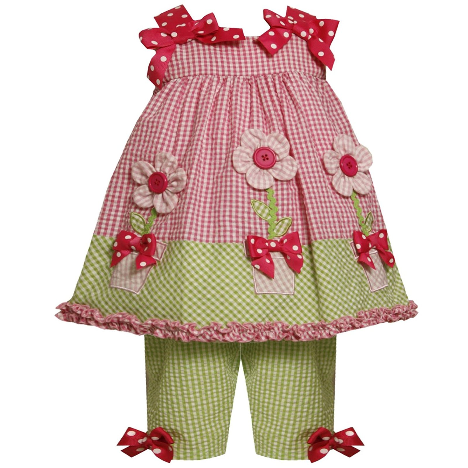 Bonnie Jean Baby Girl 3M-24M Pink Green 3-d Flower Pot Seersucker Dress/capri Se
