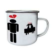Love Me Valentine'S Day Couple Funny Gift Retro,Tin, Enamel 10oz Mug d545e - $13.13