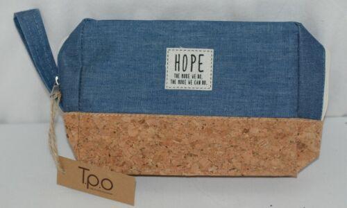 TPO Brand MP0005BL Hope Tan Cork Blue Jean Color Canvas Travel Makeup Pouch