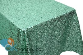 AK-Trading MINT GREEN Sequin Rectangular Tablecloth, Rain Drops Sequin T... - $146.95