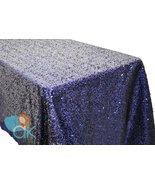 AK-Trading ROYAL BLUE Sequin Rectangular Tablecloth, Rain Drops Sequin T... - $48.95