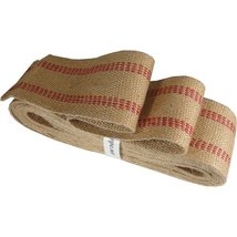 10 Yards Heavy Duty Red and Natural Burlap Upholstery Webbing - $24.45