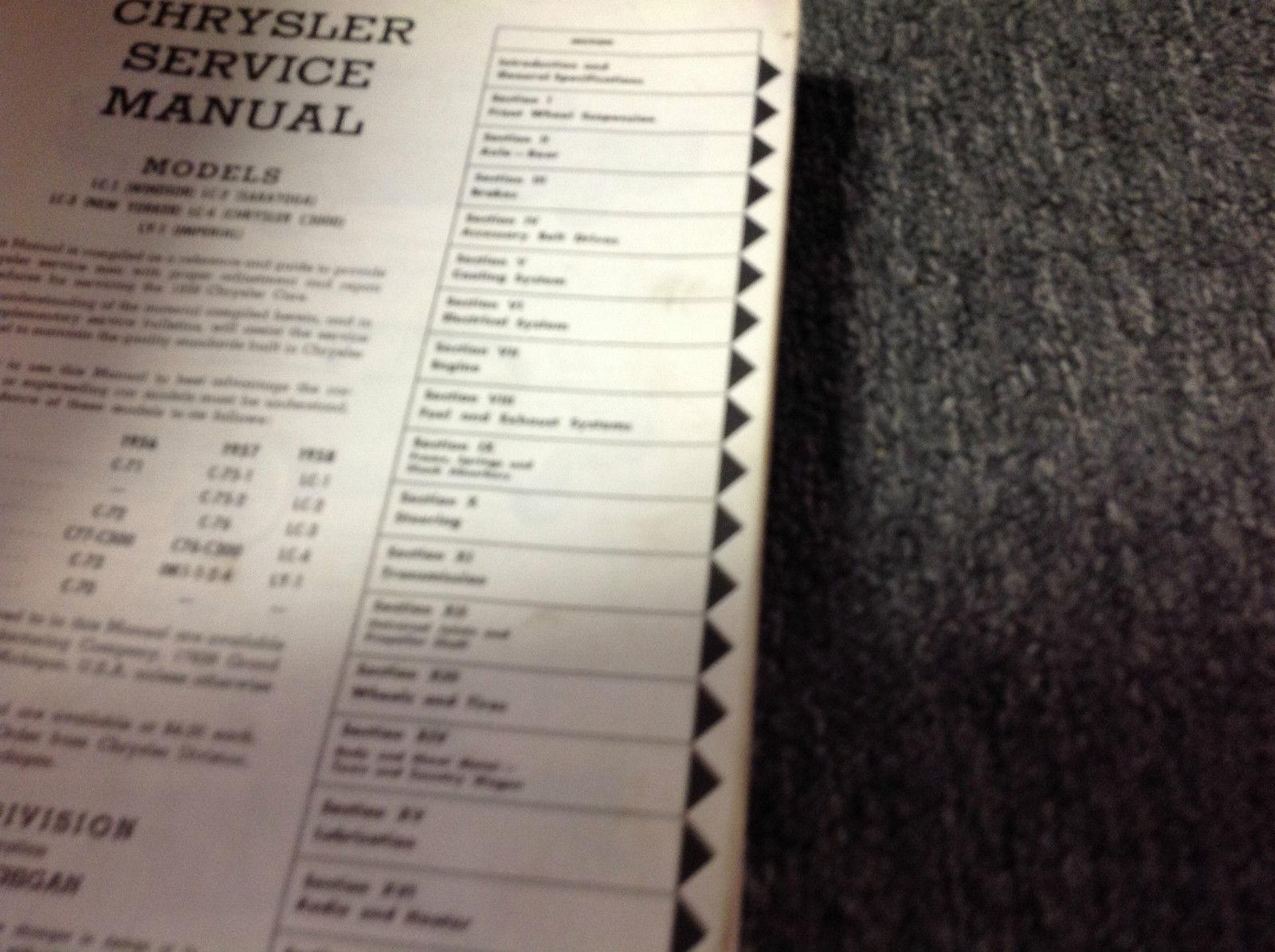 1958 CHRYSLER IMPERIAL Service Shop Repair Manual BRAND NEW FACTORY REPRINT