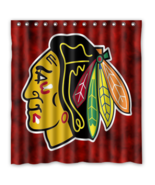 Chicago Black Hawks 09 Shower Curtain Waterproof Polyester Fabric For Ba... - $33.30+
