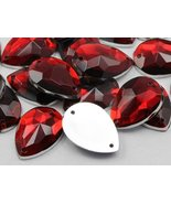 18x13mm Ruby CH17 Teardrop Flat Back Sew On Beads for Crafts - 50 Pieces - $5.85