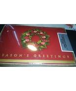 Season's Greetings Wreath Burgandy and Gold Boxed Holiday Christmas Card... - $12.86