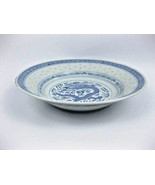 Chinese Blue And White Rice Grain Dragon Round ... - $22.00