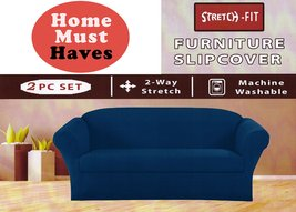 Homemusthaves Blue Furniture Slipcover Stretch Fit 2 Piece Slipcover Set... - $59.38
