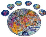 Peacocks Seder Plate and Six Small Bowls By Yair Emanuel by Yair Emanuel