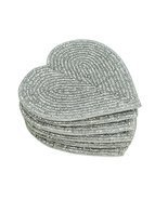 Handmade Beaded Heart Coaster Set - 6 Silver, 4 Inch Coasters - Heat-Res... - £8.10 GBP