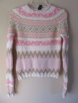 GAP Women's Mohair Wool Crewneck Pink/Ivory Chunky Nordic Sweater Size M - $29.35