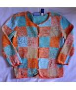 J.H. Collectibles Women's Size S Orange Blue Cardigan Sweater 3/4 Sleeve - $14.65