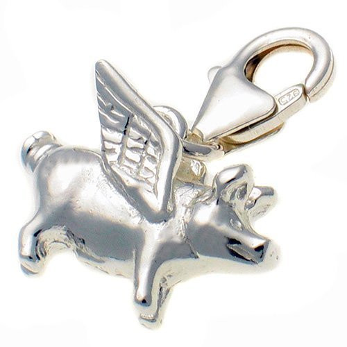 Sterling 925 Silver Flying Pig Clip On Charm. Handmade by Welded Bliss WBC1459