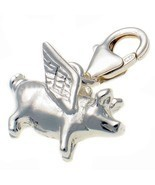 Sterling 925 Silver Flying Pig Clip On Charm. Handmade by Welded Bliss W... - $24.50