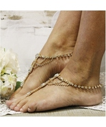 Barefoot Sandals, GOLD, foot jewelry, footless sandals, wedding, bride, ... - $31.99