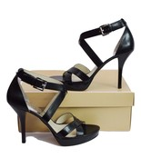 "Michael Kors ""Evie"" Womens Black Platform Open Toe Leather Shoe SZ 10  - $44.95"