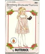 Butterick Sewing Pattern 4827 Girls Dress Size 2 3 4 Strawberry Shortcake New - $9.99