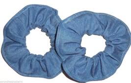 Blue Jean Denim Hair Scrunchies by Sherry Ponytail Holders Ties Lot of 2 - $12.95