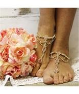 Barefoot Sandals PINK GOLD, foot jewelry, footless sandals, wedding, bri... - $31.99