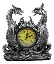 """Ebros Gothic Twin Dragons Table Clock Statue 11.25"""" Tall with Roman Numerals in  - $27.67"""