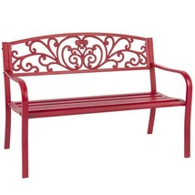 Outdoor Patio Bench Garden Park Steel Furniture Yard Rose Red Frame Porc... - $103.50