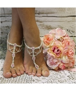 Barefoot Sandals PINK SILVER  foot jewelry, footless sandals, wedding, b... - $31.99