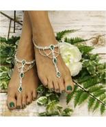 Barefoot Sandals, EMERALD GREEN Silver rhinestones, wedding, bridal, silver - $31.99
