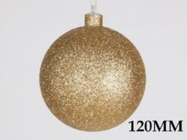 120mm Glitter Gold ball ornament with wire - $379.00 CAD