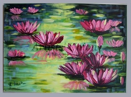 Water Lilies Impression Impasto Original Oil Pa... - $240.00