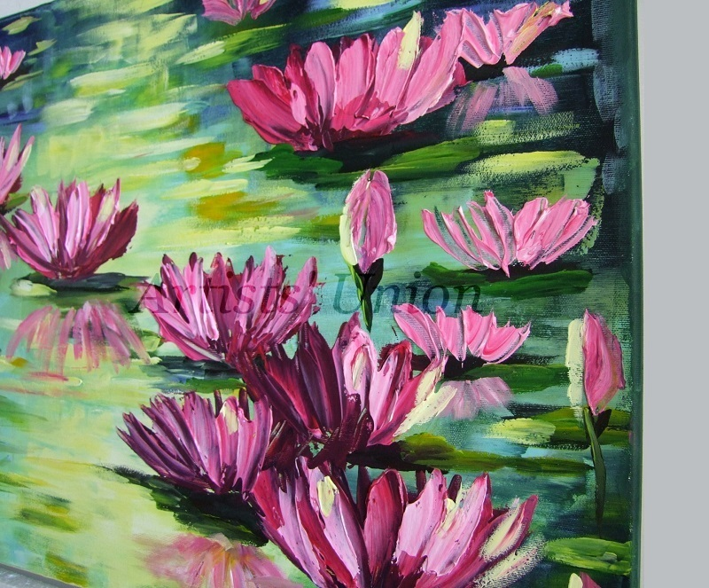 Water Lilies Impression Impasto Original Oil Painting Flowers Lake Europe Artist
