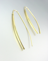 CHIC MODERN GOLD Metal Thin Wire THREADER Dangle Earrings 78072 - $16.99