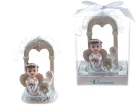 Baby Angel in White Praying Under Arch Poly Resin - Blue - $143.52