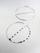 CHIC Urban Anthropologie Lightweight Thin Silver Flat Threader Hoop Earrings - $11.99