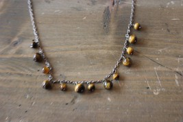 Vintage Sterling Silver Tigers Eye Necklace 16 inches - $24.74