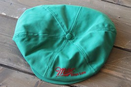 Vintage Made In Usa Green Miller High Life Newsboy Cap Hat Adjustable - $39.59