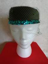 VINTAGE AQUA NETTED Hat with Sequined Rimming (#0643) - $41.99