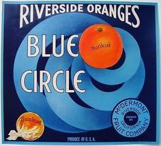 Blue Circle Riverside Oranges Crate Label Art Print Citrus Sunkist  Californina - $9.87