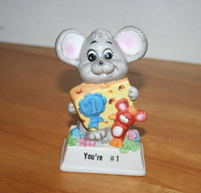 """Russ Berrie """"You're #1"""" Mouse Holding Price Cheese Porcelain Figurine - $8.99"""