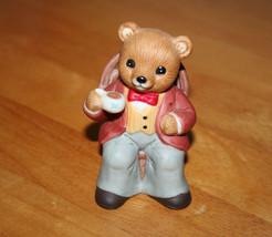 HOMCO Tea Time Bears Porcelain Figurine of Papa Bear Drinking Tea - $6.99