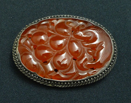 Antique Chinese Carved Carnelian Sterling Brooch Fruit Pin with Squirrel - $280.00