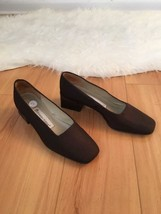 Etienne Aigner Mercedes Brown Fabric Heels Size... - $19.80