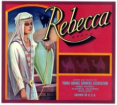 Rebecca Oranges Crate Label Art Print Citrus Yorba Placentia, California - $9.87