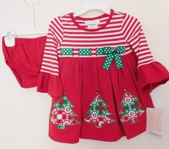 Dress & Panties 2 Pc Christmas Bonnie Baby Red With Green Tree Appliques 18M Nwt - $25.73